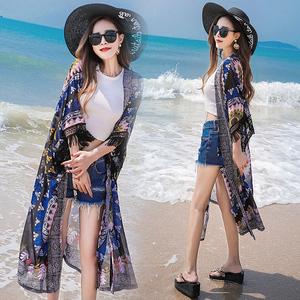 流苏印花外搭大码雪纺开衫女夏季宽松中长款沙滩防晒衣薄披肩外套