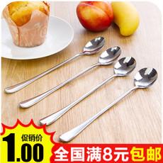 9.9包邮韩国创意不锈钢长柄勺子 环保办公室咖啡勺 搅拌勺 单个卖