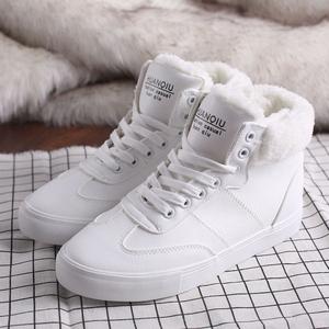 环球棉鞋女冬季加绒雪地靴女短靴女皮面韩版平底学生百搭保暖棉鞋