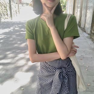 ins网红纯棉短袖T恤女牛油果绿色2019夏新款韩版宽松学生百搭上衣