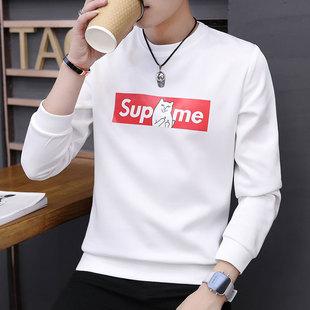 男士秋冬长袖t恤韩版潮流外套男上衣打底衫加绒新款卫衣男装衣服