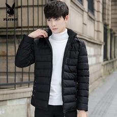 花花公子冬季羽绒服男士加厚学生青年韩版修身中长款轻薄外套短款