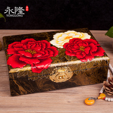 永隆号-手工平遥推光漆器首饰盒双层牡丹变涂彩绘首饰收纳礼品盒