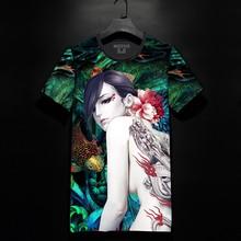 中国风纹身美女日系潮牌韩版t恤短袖男t恤个性圆领t恤短袖上衣