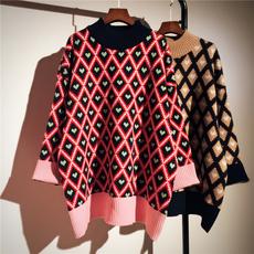 半高领毛衣女2017冬装新款韩版宽松中长款撞色菱格毛衣裙针织衫潮