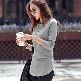 中长款长袖T恤女 秋装纯棉体恤修身简约大码打底衫女上衣外穿秋衣