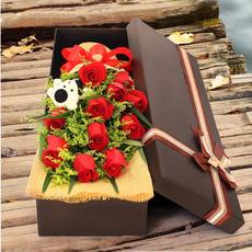 七夕情人节成都鲜花店同城速递温江郫县双流红玫瑰花束礼盒送爱人