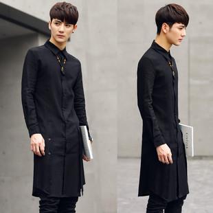长款衬衫男潮韩版修身棉亚麻长袖衬衫男装中长款加长发型师衬衣夏
