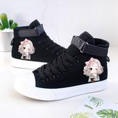 春季韩版可爱女孩手绘鞋舒适平底高帮帆布鞋女中学生休闲板鞋黑色