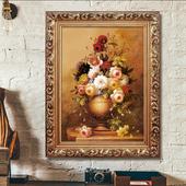 饰画客厅画餐厅玄关挂画家居壁挂画喷绘仿真油画 欧式有框古典画装