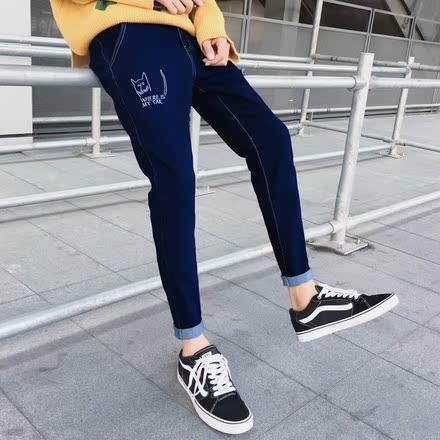 春秋季日系复古弹力男士牛仔裤男青少年韩版小脚裤潮男修身长裤