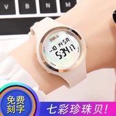 考试电子表闹钟韩版潮流时尚防水LED夜光果冻女款电子手表中学生