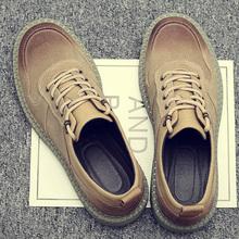男鞋夏季英伦复古低帮工装鞋男鞋子潮鞋百搭大头皮鞋短靴子马丁鞋