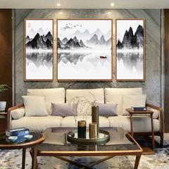 新中式客厅沙发背景墙装饰画三联组合水墨画禅意中国风壁画山水画