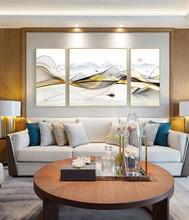 新中式现代轻奢装 饰画客厅背景墙山水画家居装 饰简约抽象三联挂画