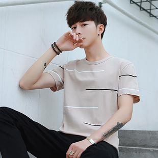 夏季男士短袖t恤 圆领条纹男生潮流2018新款宽松t桖纯棉夏装衣服