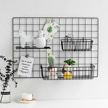 网格照片墙装饰ins铁艺房间墙上市店铺家居用置物架子挂篮托盘