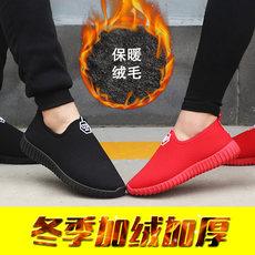 秋冬季新款低帮运动椰子小红鞋情侣休闲布鞋加厚保暖加绒男女棉鞋