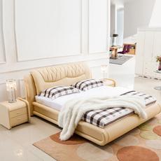 舒奇蒙现代皮艺床1.8米双人床1.5米简约真皮软床厂家直销特价皮床