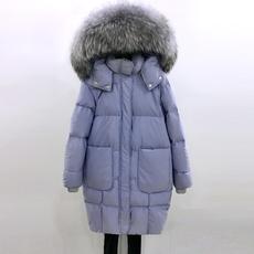 羽绒服女中长款韩国大貉子毛领茧型显瘦加厚白鸭绒外套yrf2017冬