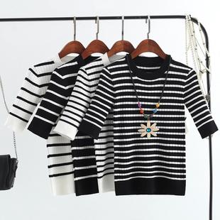 2018秋季新款韩版修身显瘦条纹短袖针织衫女套头薄打底衫上衣t恤