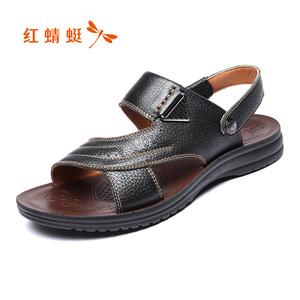 红蜻蜓男鞋真皮凉鞋2018夏季沙滩鞋男士洞洞鞋拖鞋男夏透气防滑
