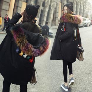 欧洲站2016冬季新款羽绒服女中长款韩版大毛领韩国宽松大码加厚潮