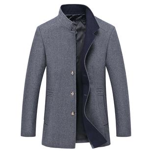 中年男士毛呢夹克中长款春秋薄款呢子外套商务修身立领外穿上衣