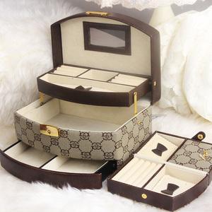 灵芳首饰盒公主可爱欧式珠宝饰品盒韩国首饰收纳盒实木质带锁礼物首饰盒