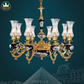 美格勒法式田园风格吊灯 客厅灯餐厅卧室陶瓷客厅别墅简欧式铜灯