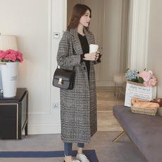 2017秋装新款韩版格子毛呢外套冬款修身显瘦长款千鸟格呢子大衣女