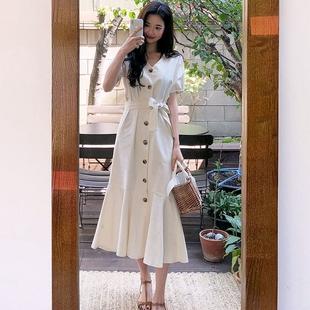 韩国新款复古文艺风棉麻鱼尾长款连衣裙宽松绑带收腰显瘦大摆长裙