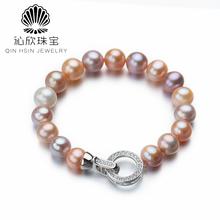沁欣珠宝 天然淡水混彩珍珠手链手饰糖果色近圆8 9mm优雅气质串珠