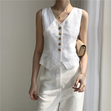 Korean version of the new thin self-cultivation OL women's single-row button sleeveless linen waistcoat shoulder tide 80711