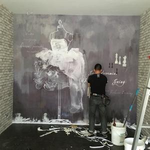 手绘艺术复古墙纸 服装店玄关西餐厅背景墙 油画素色抽象壁纸婚纱壁纸