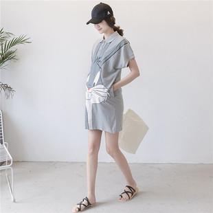 夏季孕妇装短袖T恤时尚卡通纯棉宽松上衣怀孕期中长款孕妇连衣裙