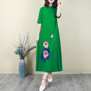复古中国风棉麻连衣裙夏季超长款刺绣花亚麻气质长裙子宽松旗袍裙