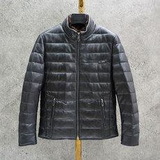 高端男装真皮~修身帅气 水貂毛立领夹克式绵羊皮80白鸭绒皮衣外套