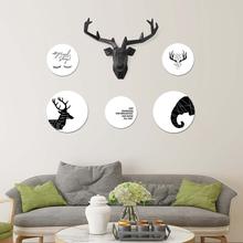 欧式照片墙鹿头壁挂组合相框家居玄关沙发背墙实木装饰画框相片墙