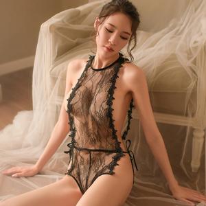 性感开档刺绣情趣内衣服制服透视装三点用品激情套装紧身女式小胸