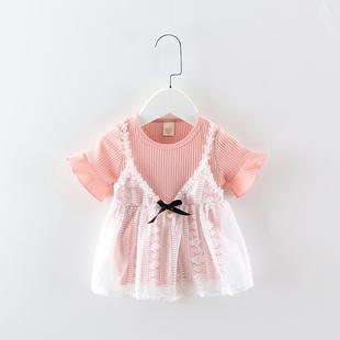 女宝宝夏装公主裙3-6个月婴儿裙子0-1-2岁女童纯棉洋气短袖连衣裙