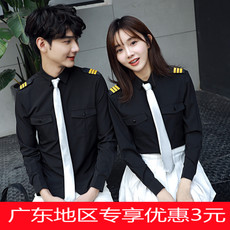 情侣装美发衬衫2017新品韩版修身长短袖男女学生班服空少学院风潮