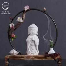 中式禅意摆件陶瓷如来佛像玄关客厅办公室家居工艺品创意白瓷摆设
