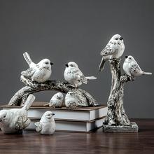 美式创意简约小鸟摆件书架客厅电视柜家居酒柜装 饰品玄关书柜摆设