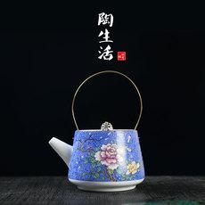 扒花茶壶手绘粉彩描金茶具提梁壶茶杯品茗杯功夫茶具青花陶瓷茶壶