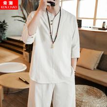 中国风夏季青年套装男装亚麻古风民族服装短袖汉服唐装休闲两件套