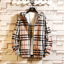 2009 New Spring and Autumn Jacket Men's Korean Edition Slim Garment Thin Chequered Outerwear High School Students Handsome Outerwear Trend