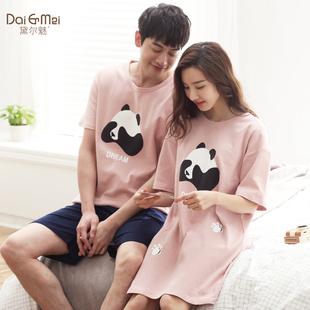 情侣睡衣夏季纯棉短袖韩版可爱睡裙女性感夏天薄款男士家居服套装