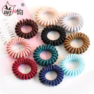萌物韩国电话线简约绑头发圈细款发绳发饰品扎头发橡皮筋甜美头绳