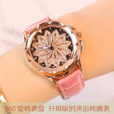 时来运转手表女简约皮带钻石夜光防水石英表2017韩版休闲时尚腕表